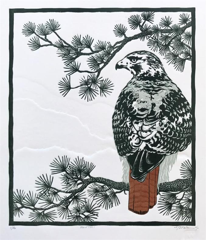 Monique Wales, Red Tail, relief print